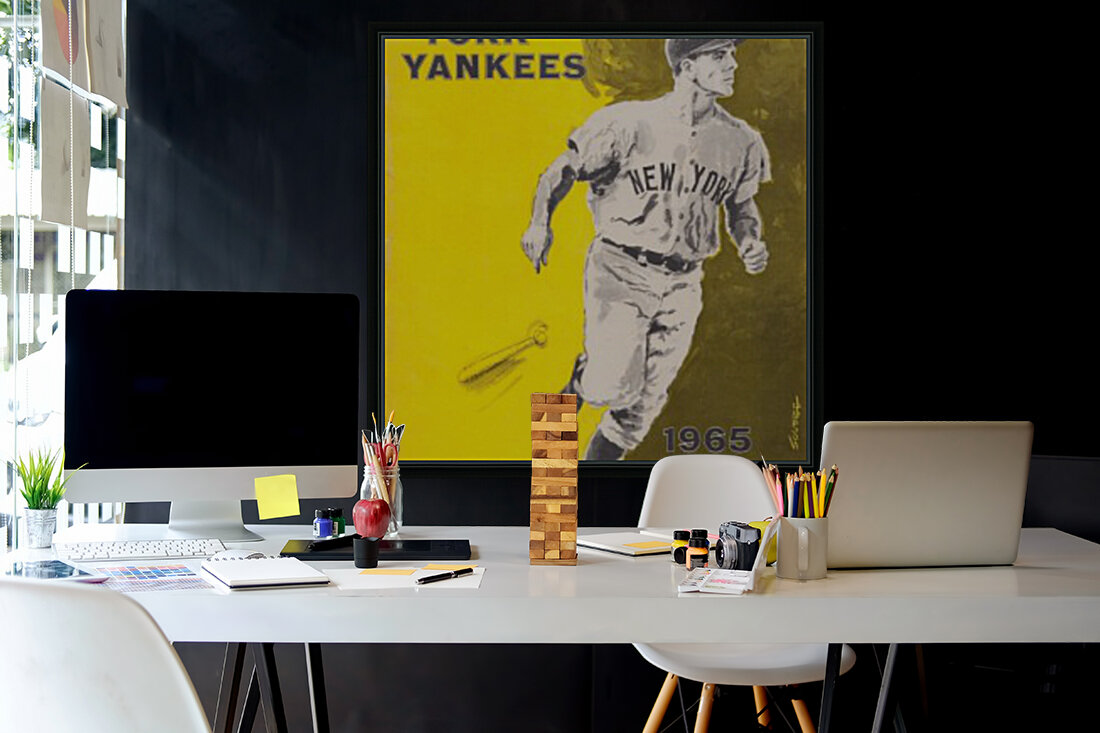 1965 new york yankees poster with Floating Frame