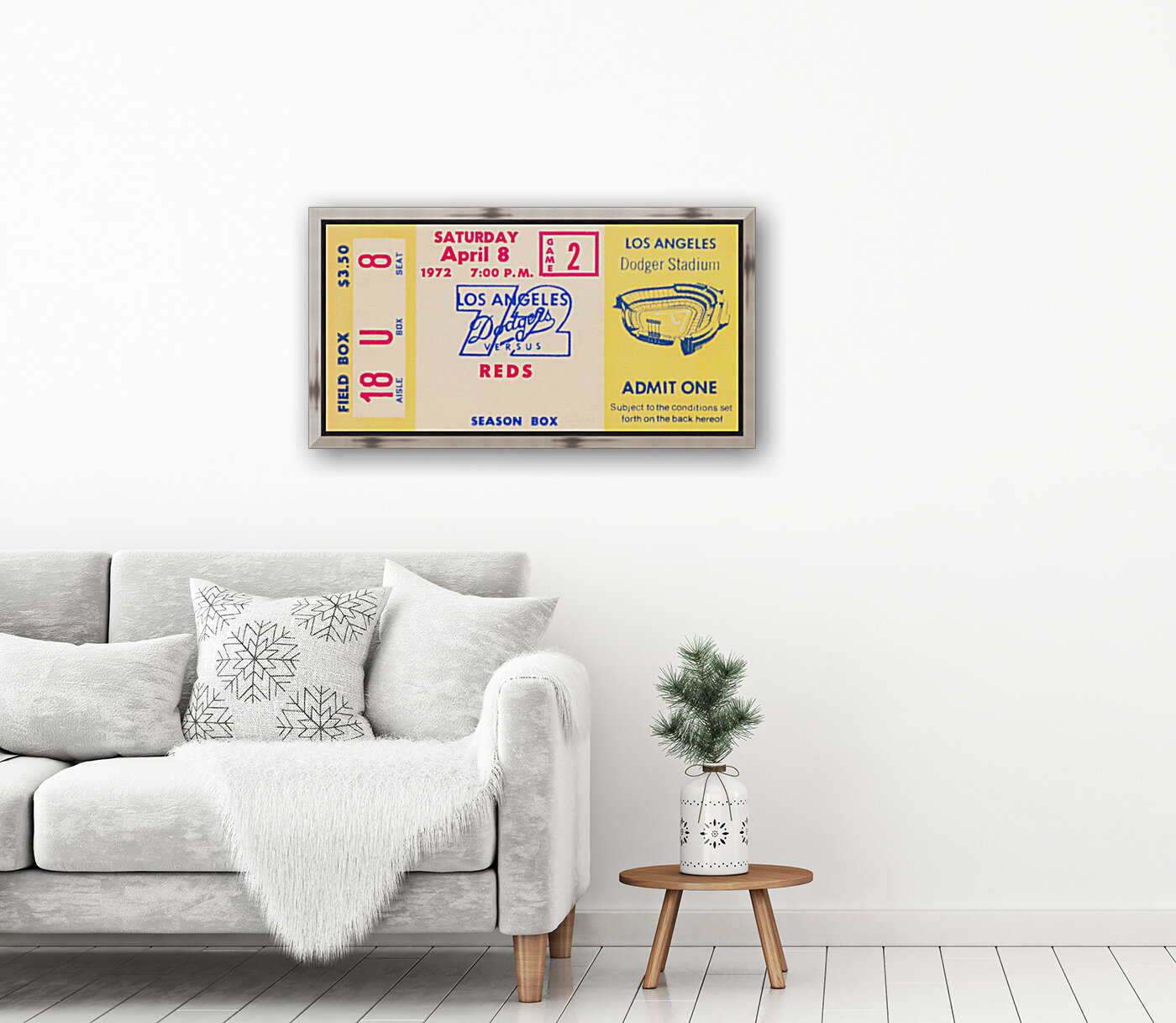 1972 la dodgers field level box baseball ticket stub canvas art  Art