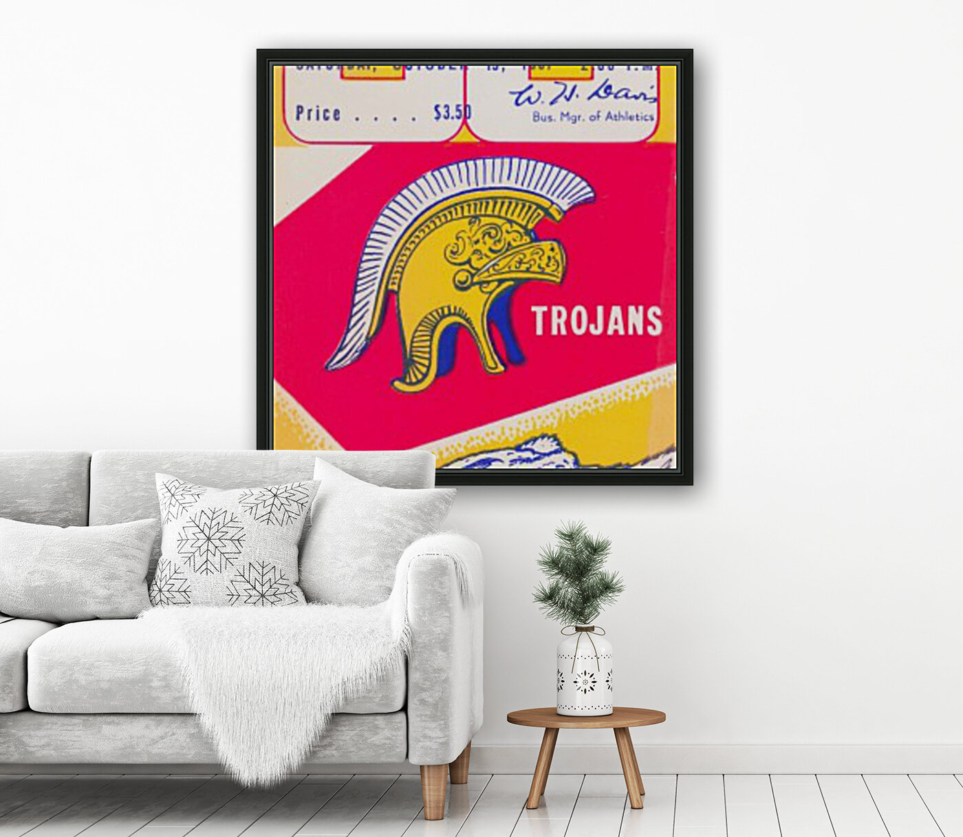 1957 cal bears usc trojans california memorial stadium football ticket art sports gift idea with Floating Frame