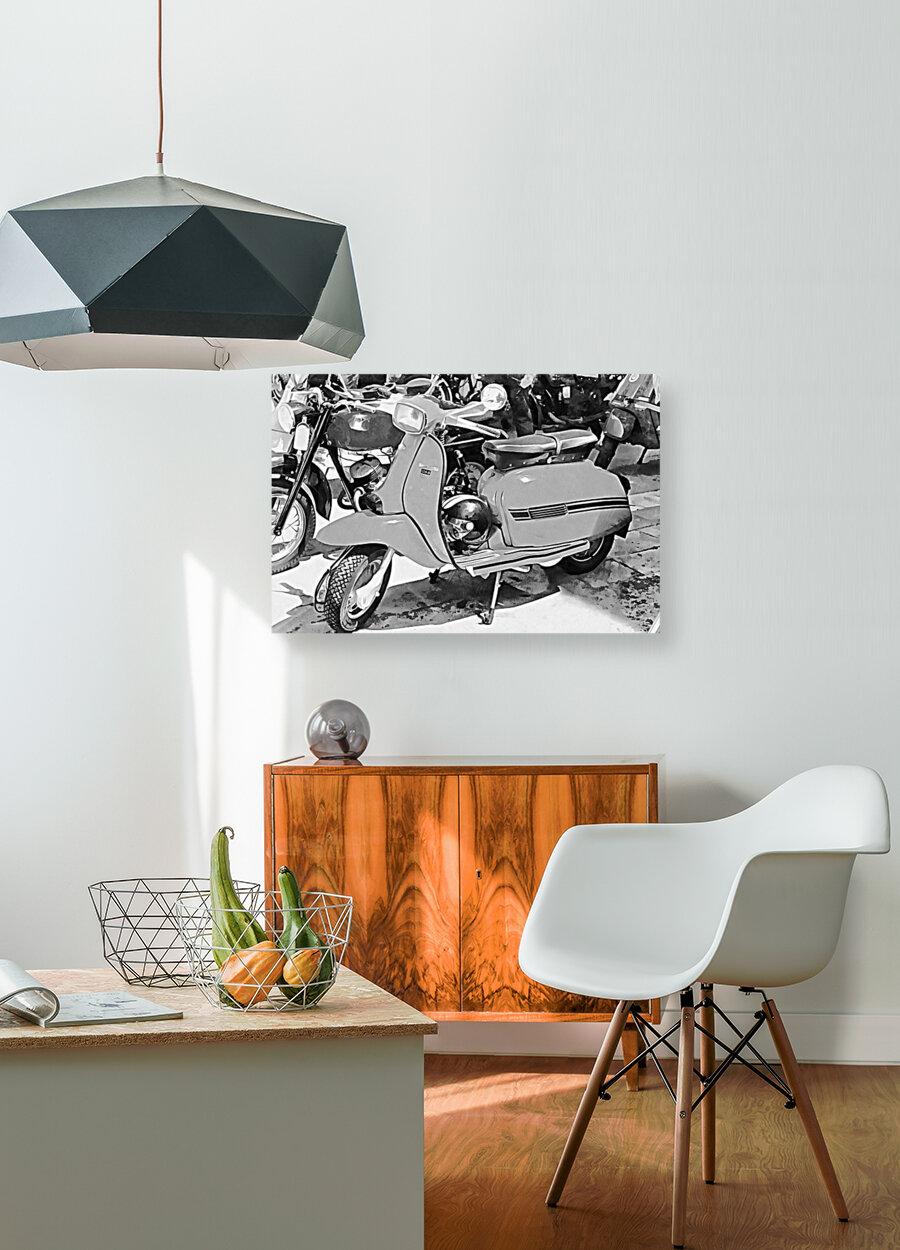 Lambretta Scooter Black and White  Art