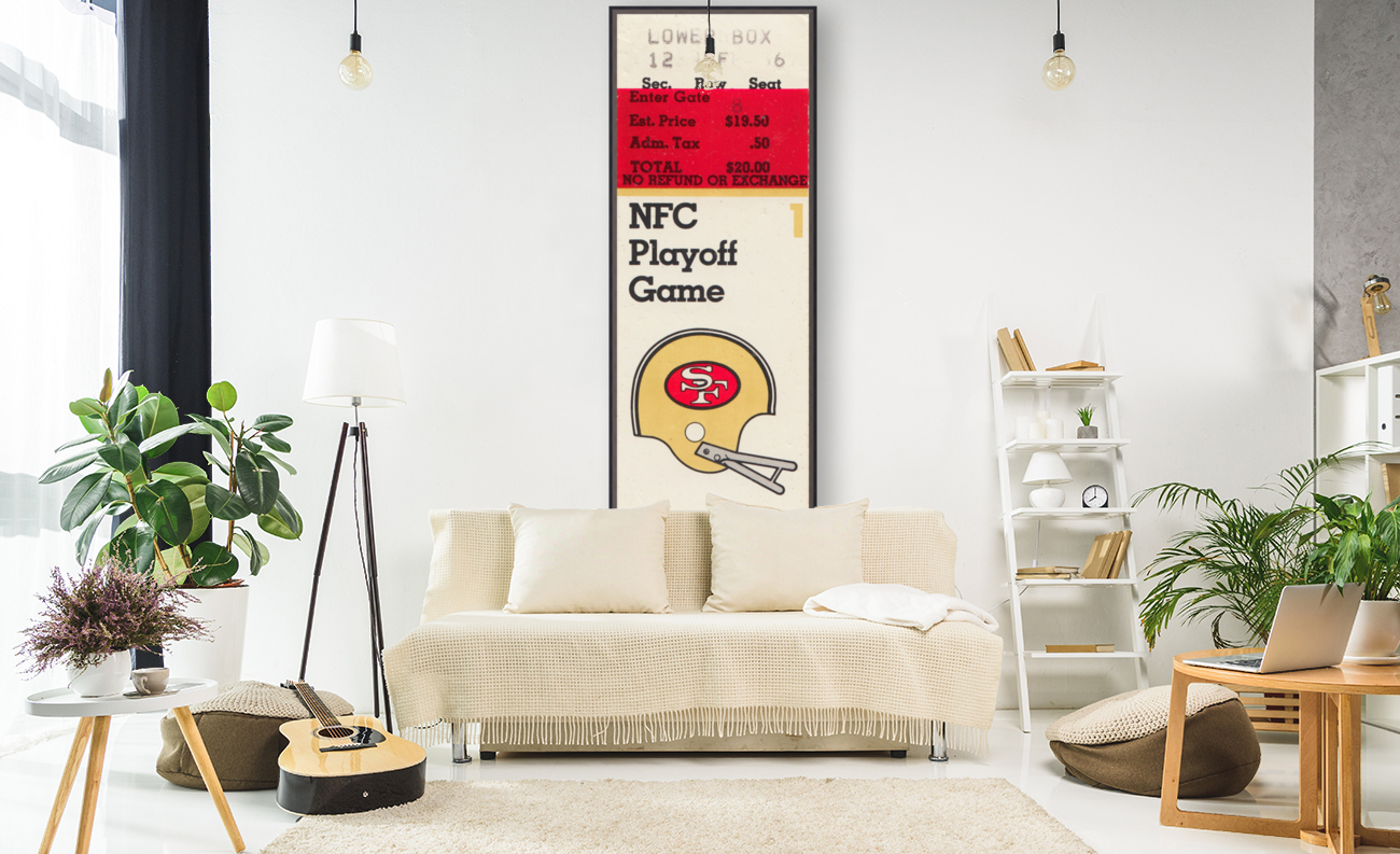 1984 san francisco 49ers nfl football ticket art nfc playoff game with Floating Frame