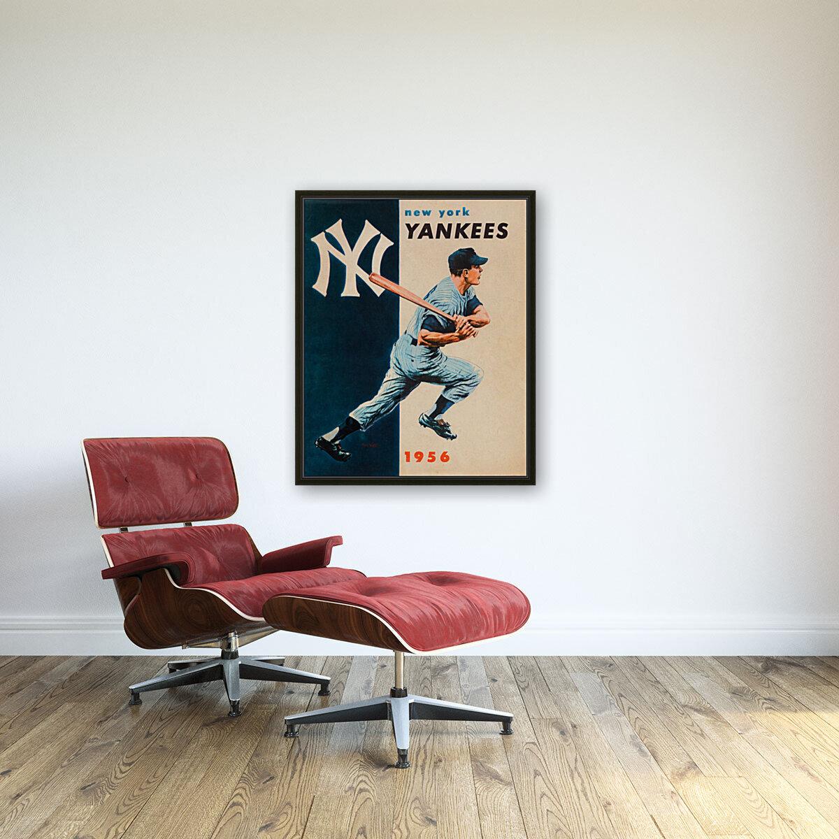 1956 new york yankees vintage baseball art  Art