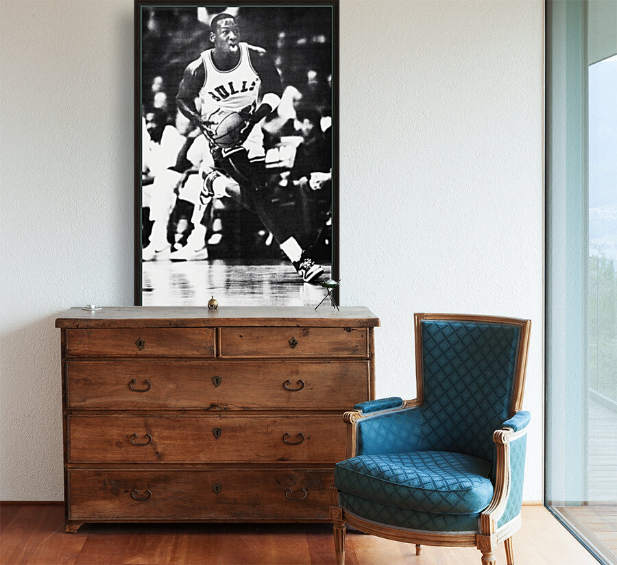 1985 Michael Jordan Black and White Poster  Art