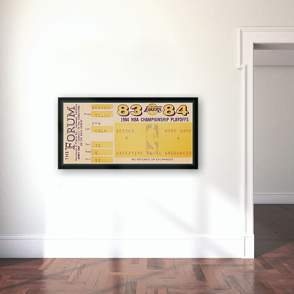 1983 84 la lakers nba playoff ticket art with Floating Frame