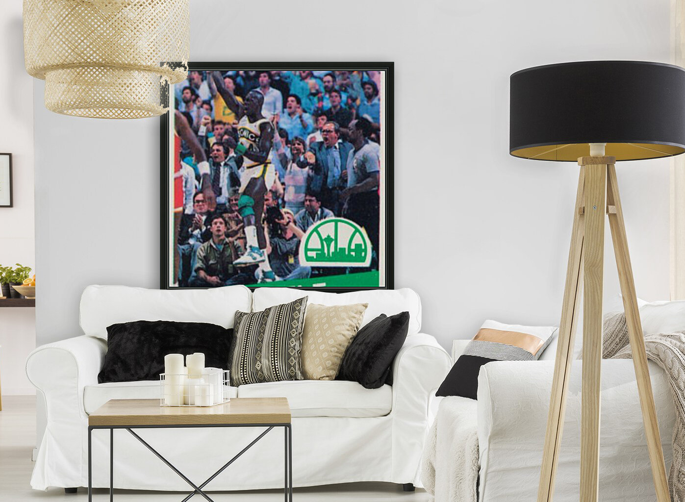 1987 seattle supersonics boston celtics ticket art with Floating Frame