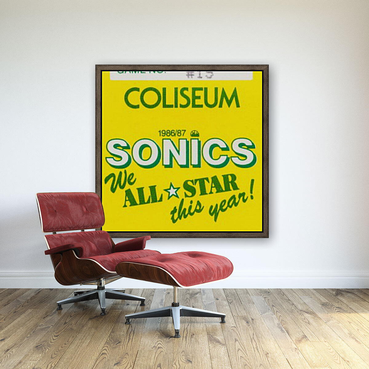 1986 seattle supersonics ticket stub canvas art  Art