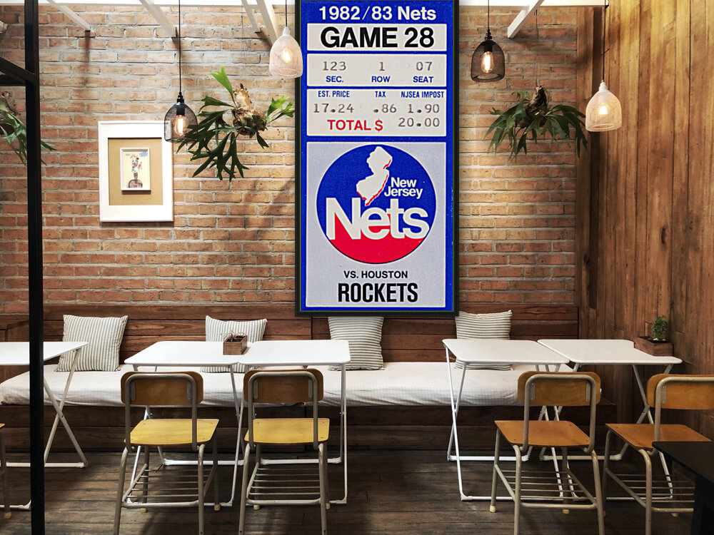1982 houston rockets new jersey nets nba basketball ticket stub wall art with Floating Frame