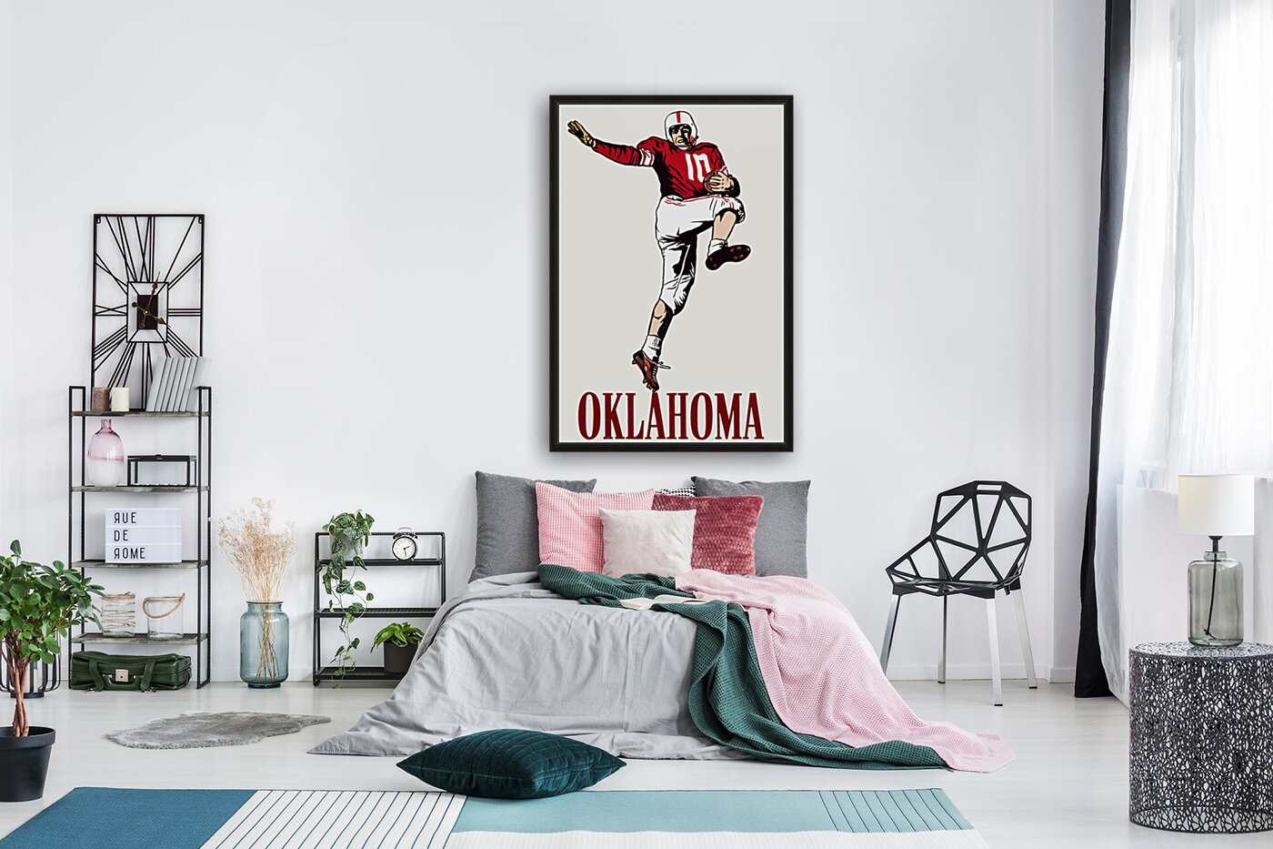 vintage oklahoma sooners football art running back with Floating Frame
