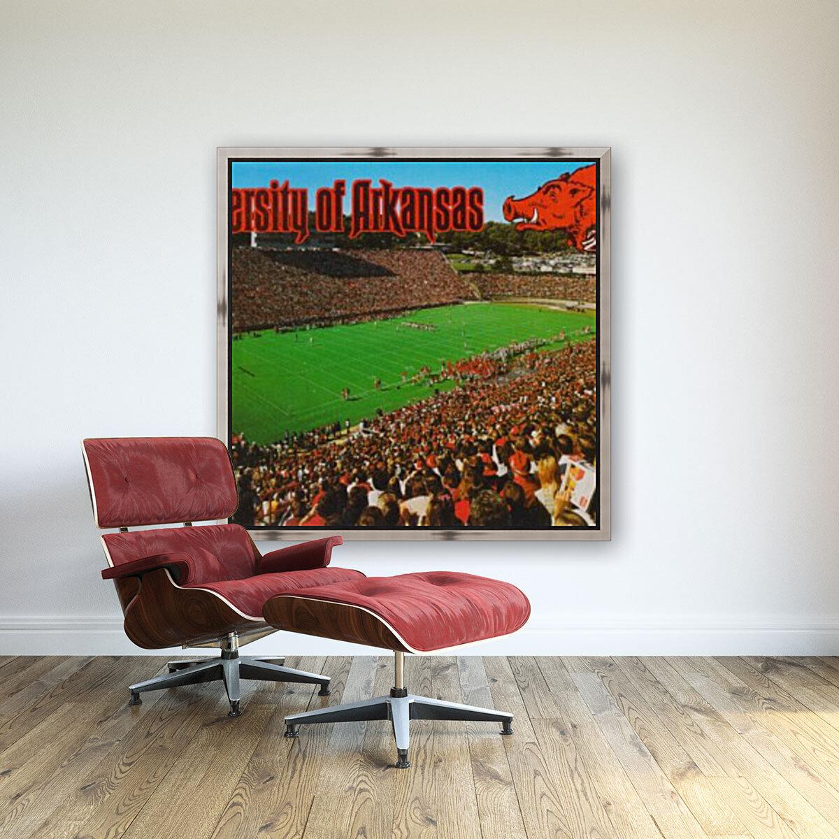 retro arkansas razorbacks football fayetteville razorback stadium photo  Art