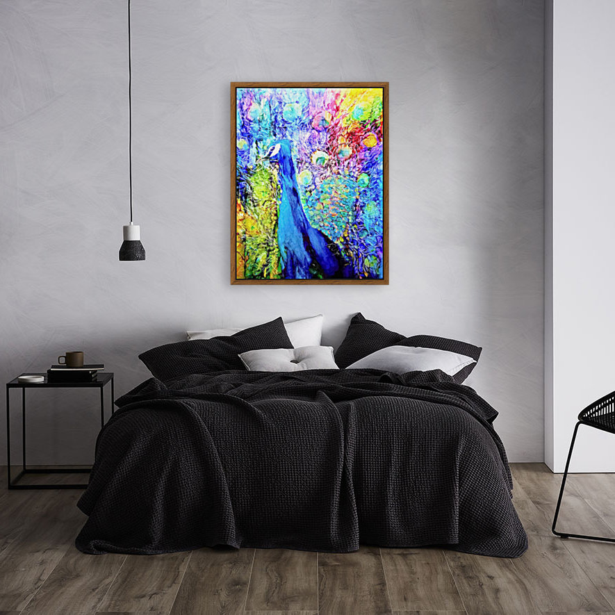 Impasto Peacock with Floating Frame