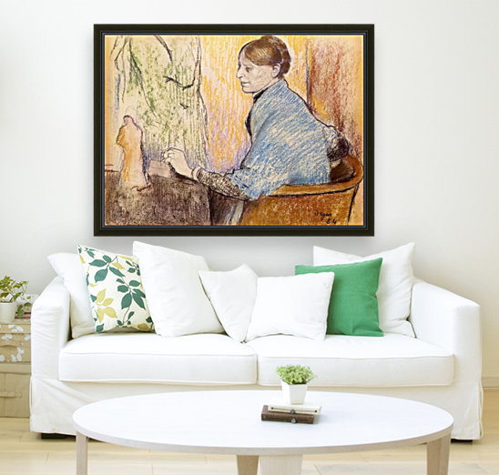 Mme Henri Rouart before a  statue by Degas  Art