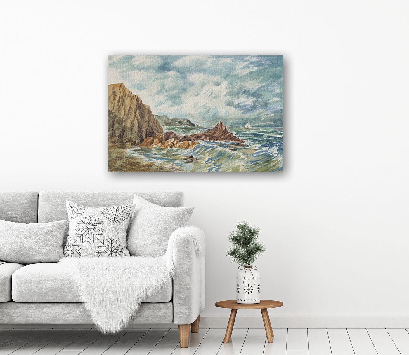 Vintage Storm At Rocky Shore  Art