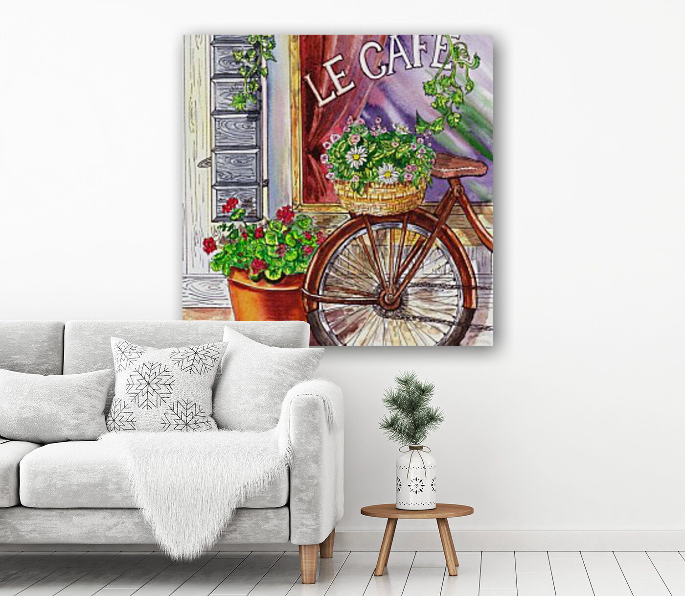French Cafe And Bicycle With Basket  Art