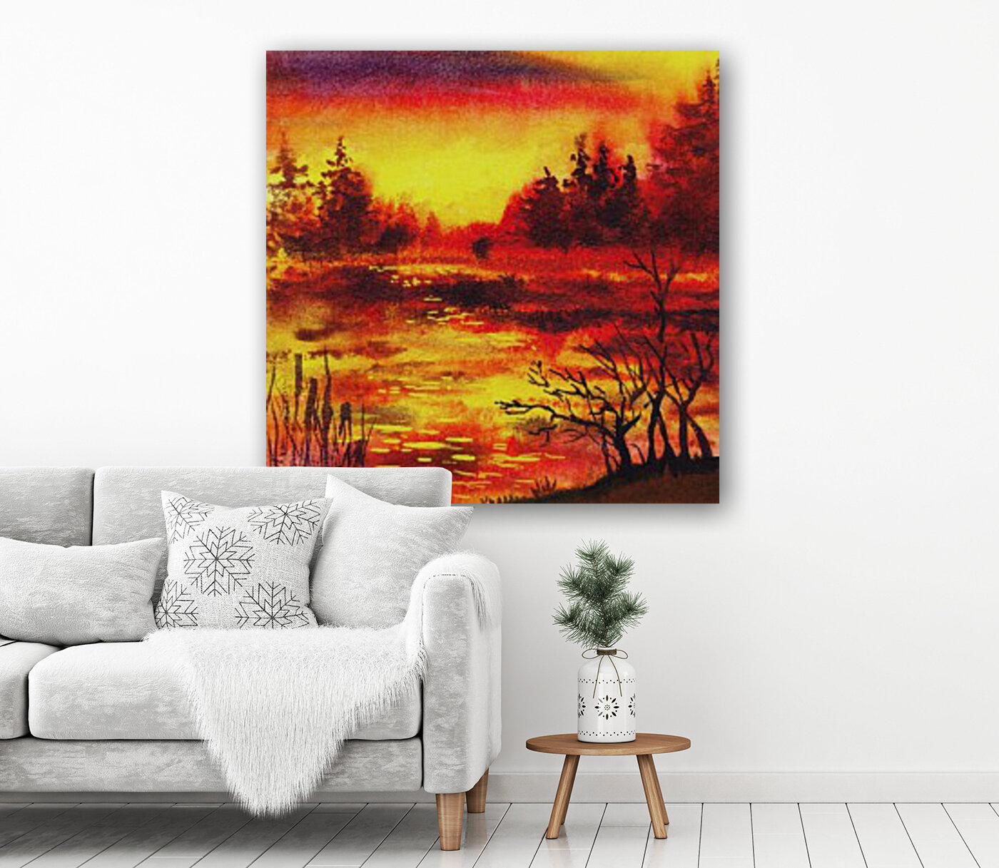 Bright Sunset At The Lake  Art