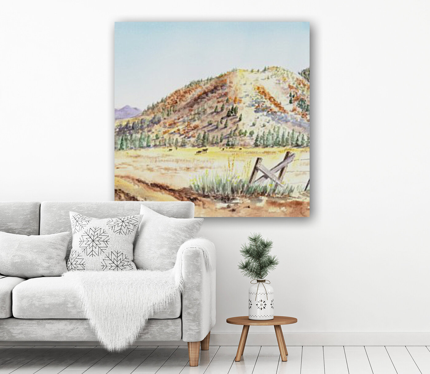 Landscape With Mountains Ranch And Cows  Art