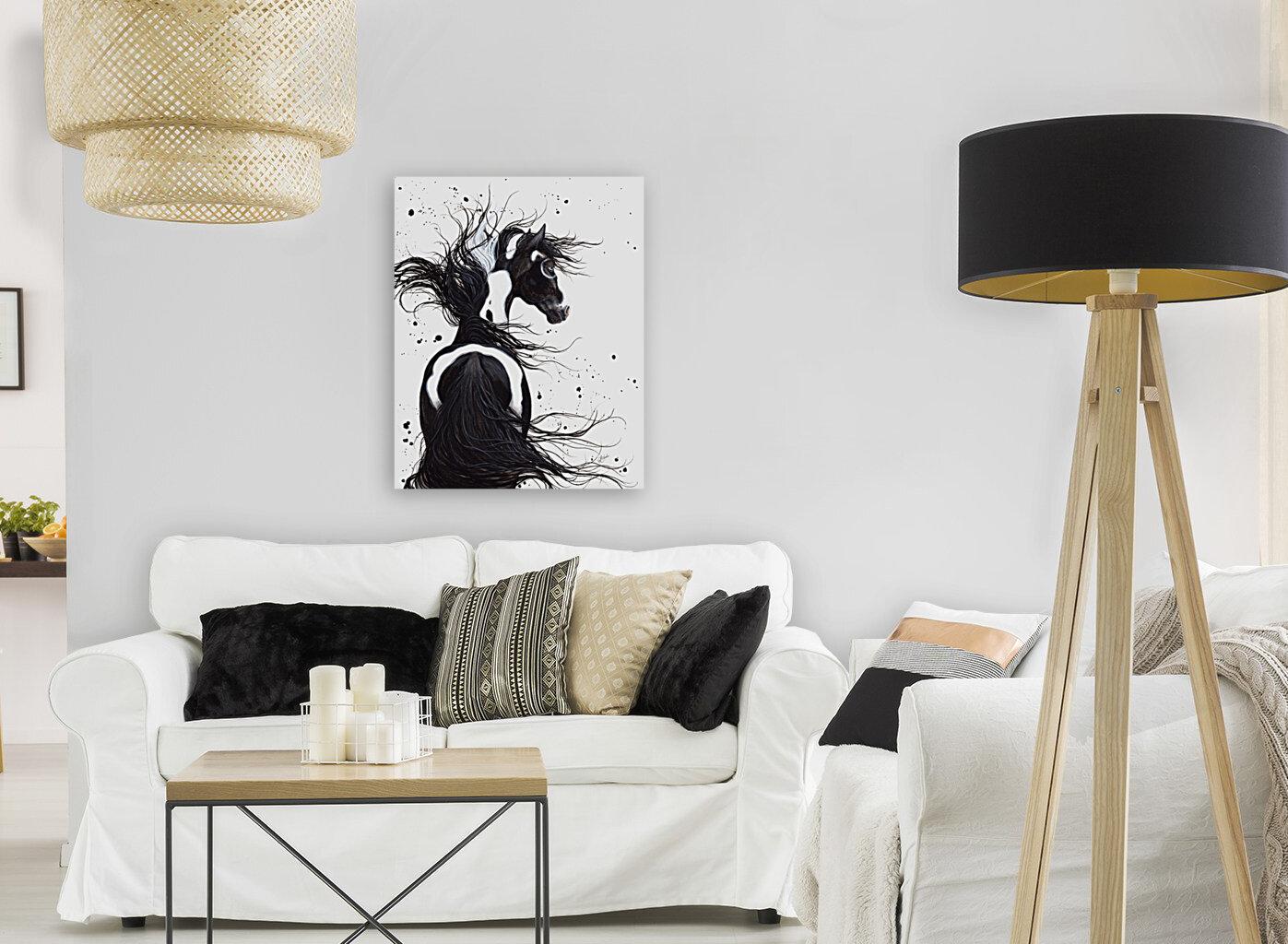 Black and White Pinto Horse  Art