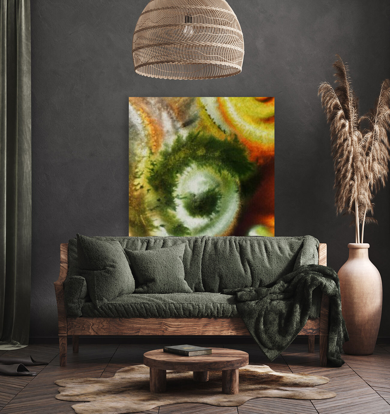 Fall Vortex Of Green Yellow Orange And Brown Abstract Watercolor   Art