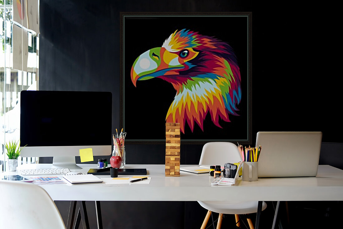 Bird of Prey in Colorful Pop Art Illustration  Art