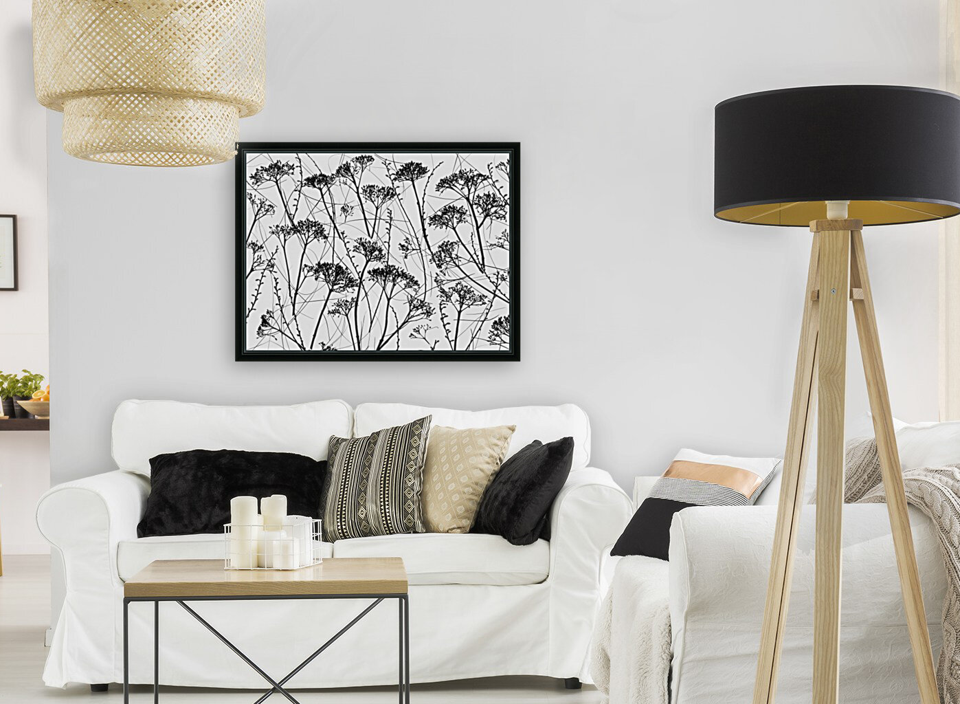 Silhouette of dried plants  Art