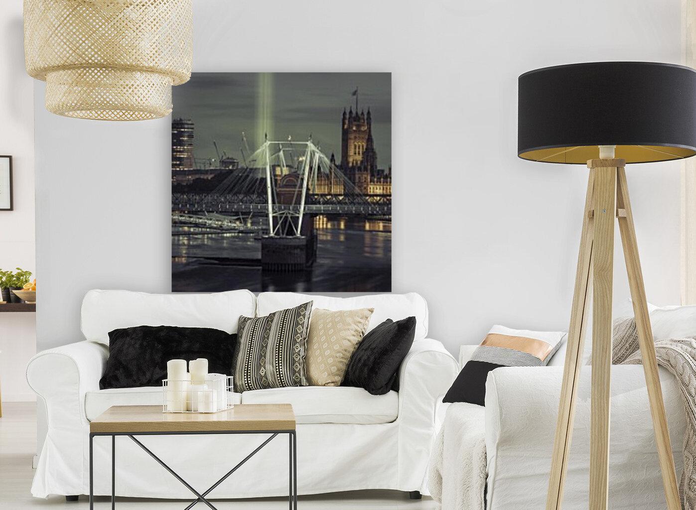 Night view of the London Eye, Golden Jubilee bridge and Westminster, London, UK  Art