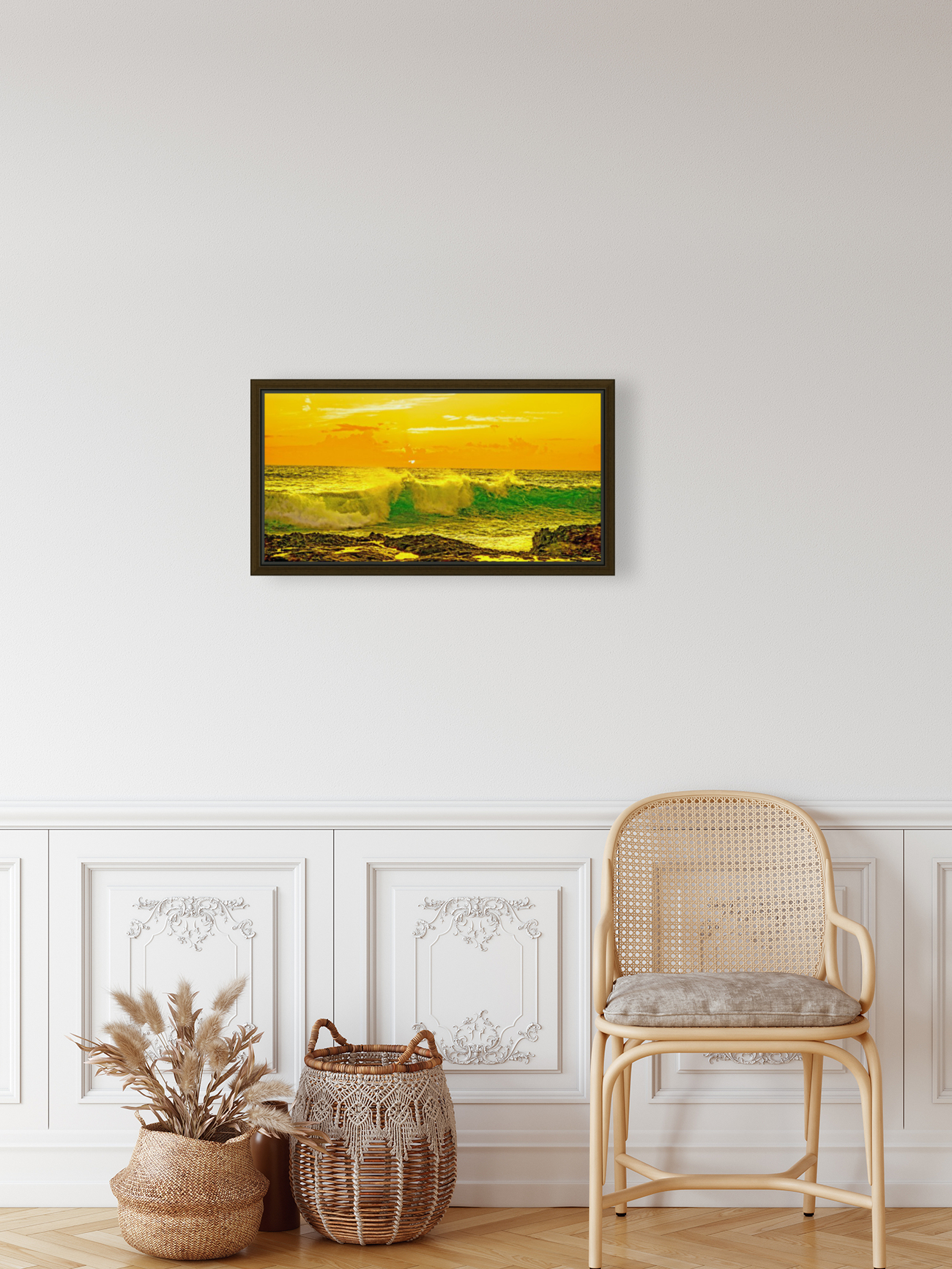 At the Sea Shore Panorama - Sunset Hawaiian Islands  Art