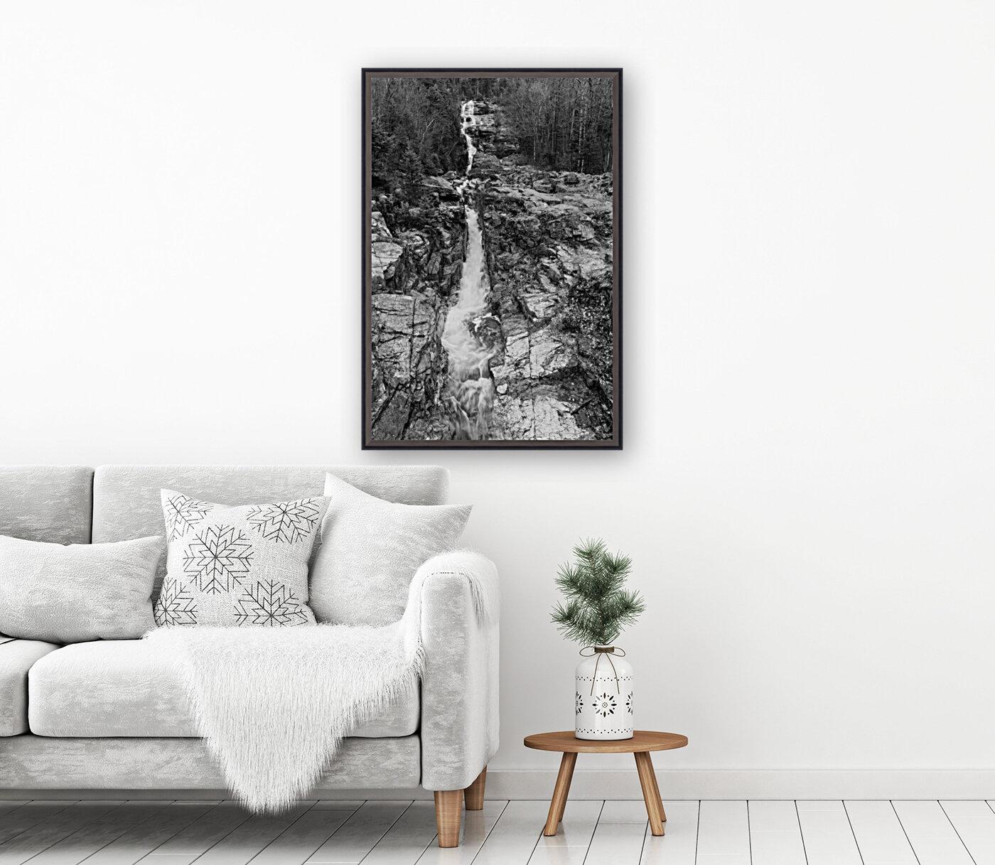 Silver Cascade Falls ap 2226 B&W  Art