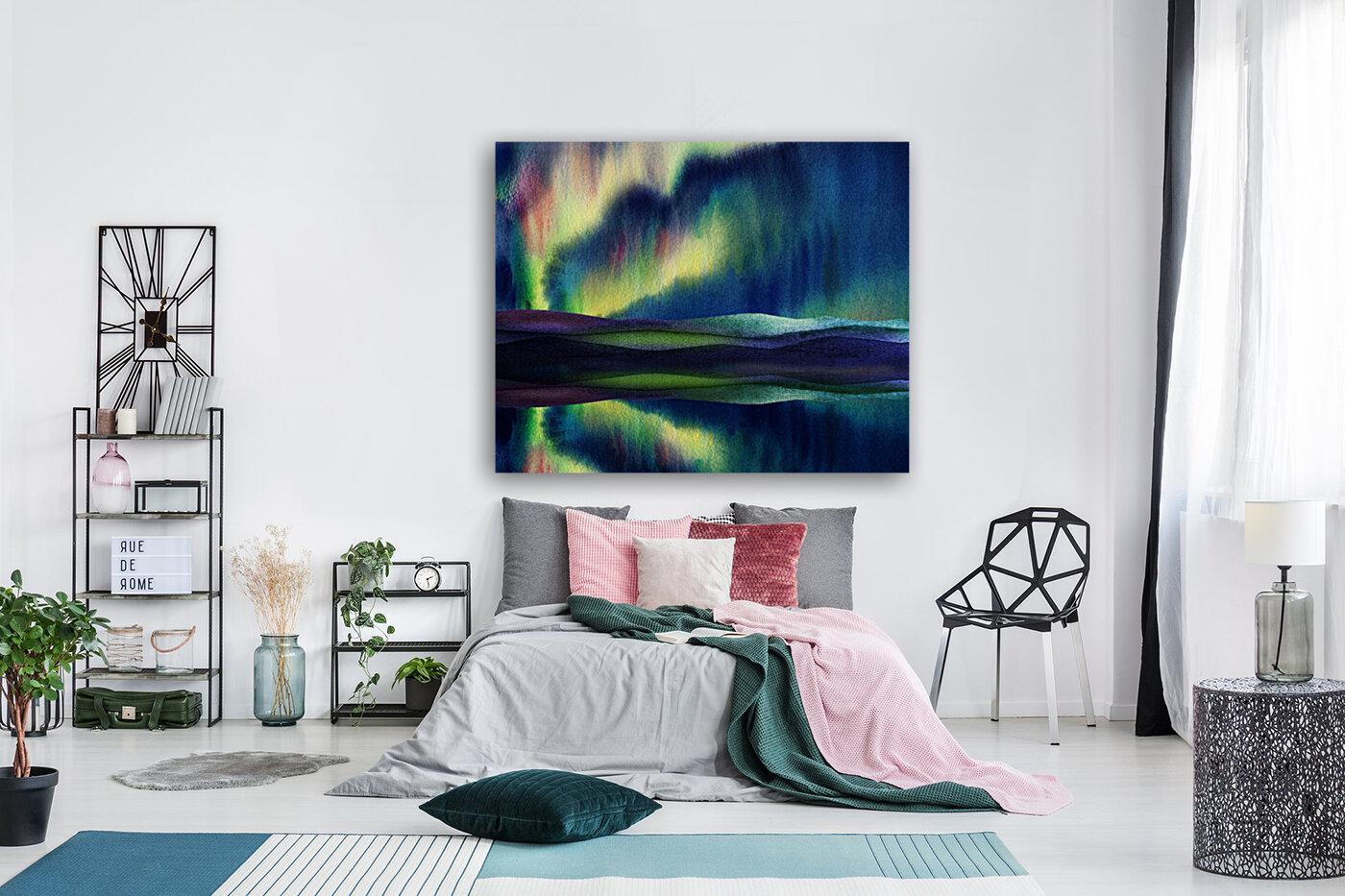 Aurora Borealis Magic Reflections Northern Lake Lights Watercolor  Art