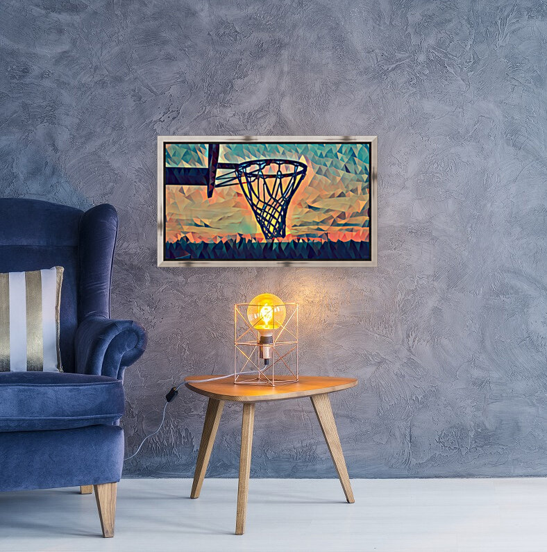 basketball hoop sunset  Art