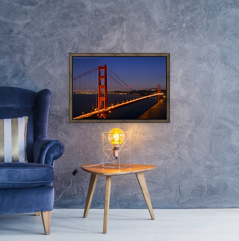 Golden Gate Bridge at Night with Floating Frame