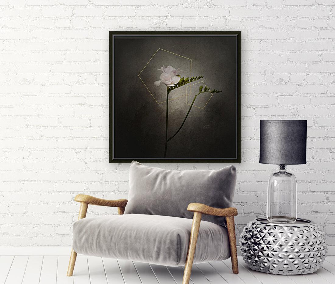 Graceful flower - Freesia   vintage style gold   Art