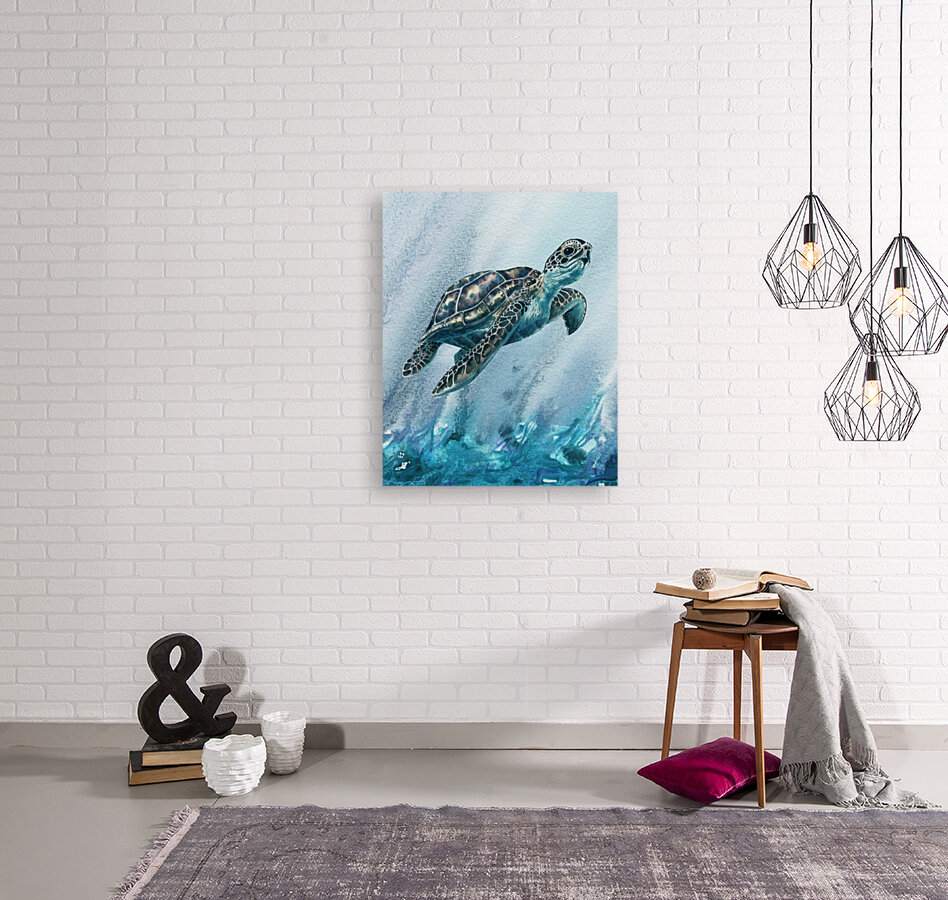 Watercolor Giant Turtle In Abstract Seaweed And Water XI  Art