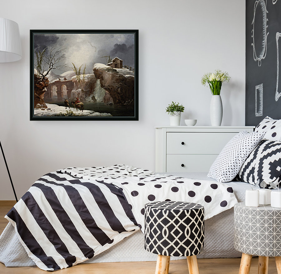 A winter landscape with travellers by a river  Art