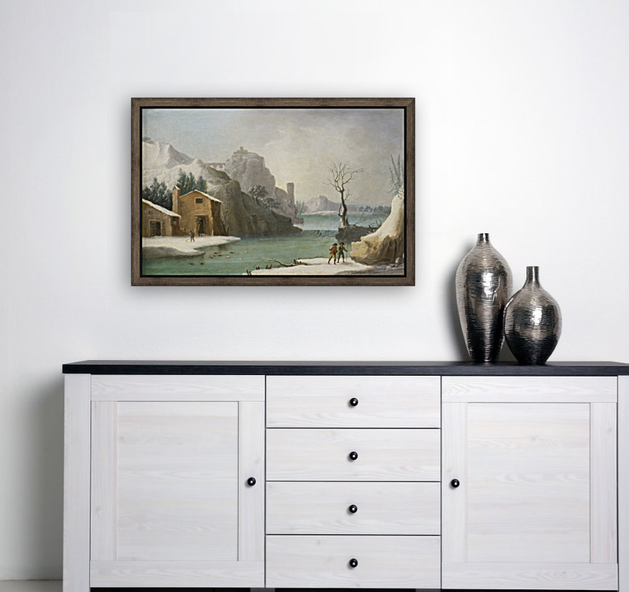 A winter landscape with travellers along a river, a Hilltop Town beyond  Art