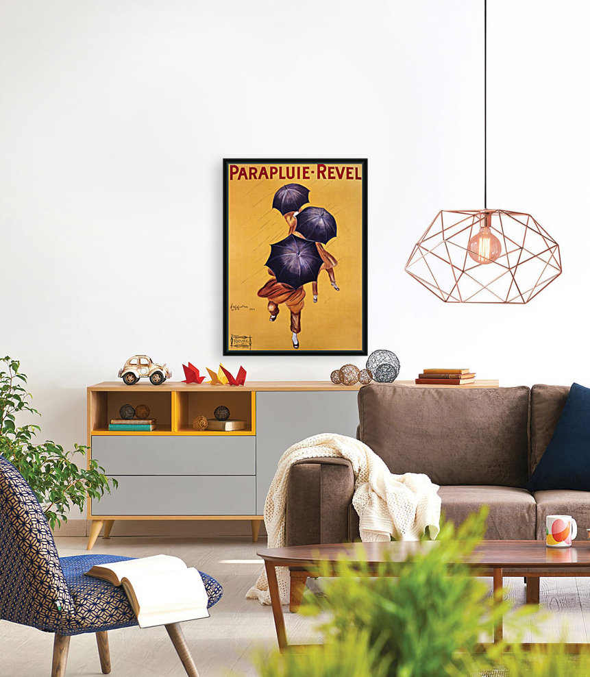 Vintage Poster Parapluie Revel with Floating Frame