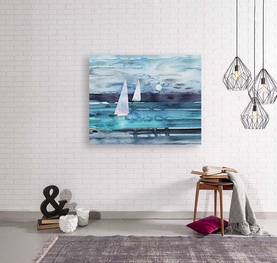 Beach House Art Sailboats At The Ocean Shore Seascape Painting XII  Art