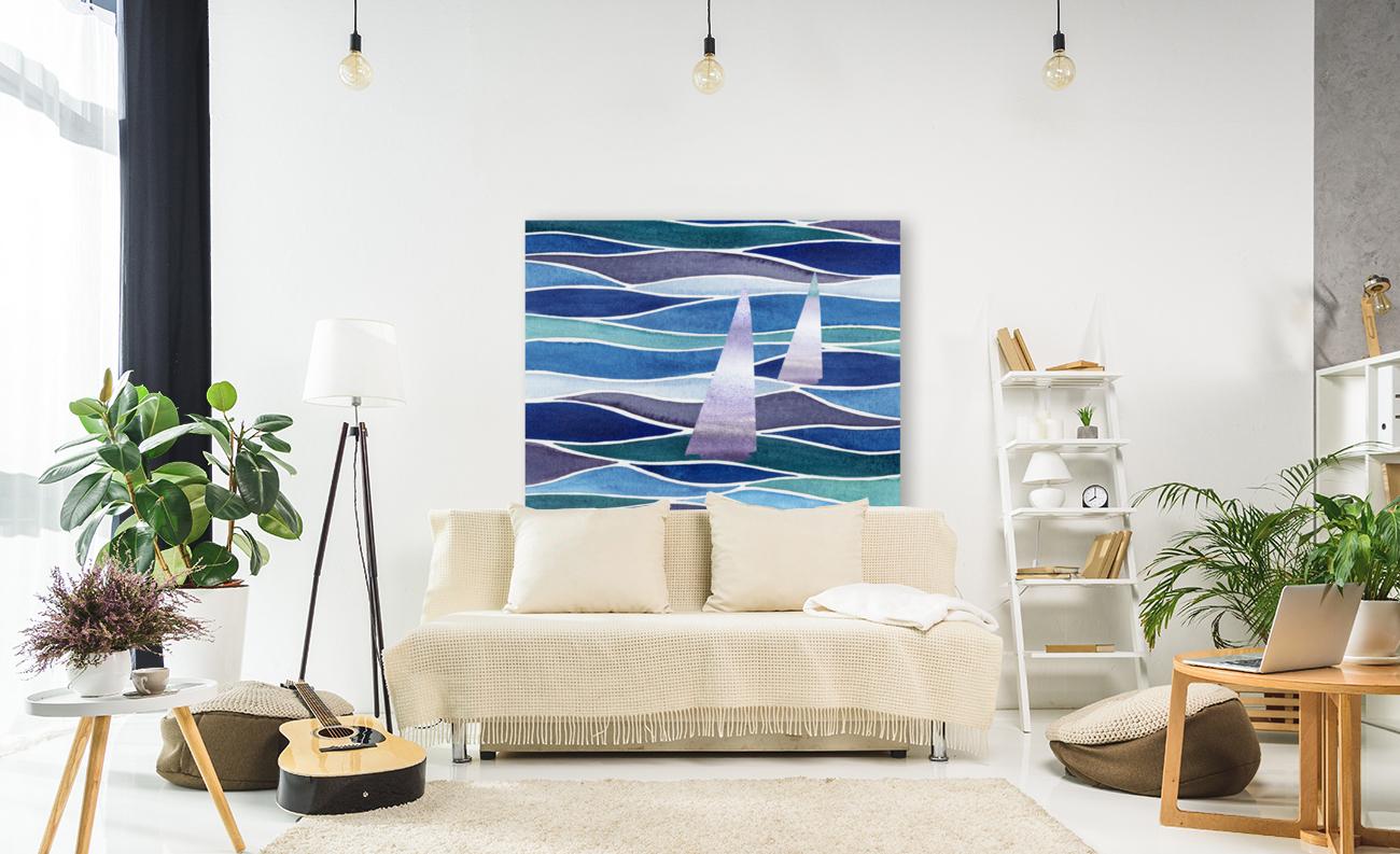 Sailboats At The Ocean Shore Seascape Painting Beach House Art Decor XIV  Art