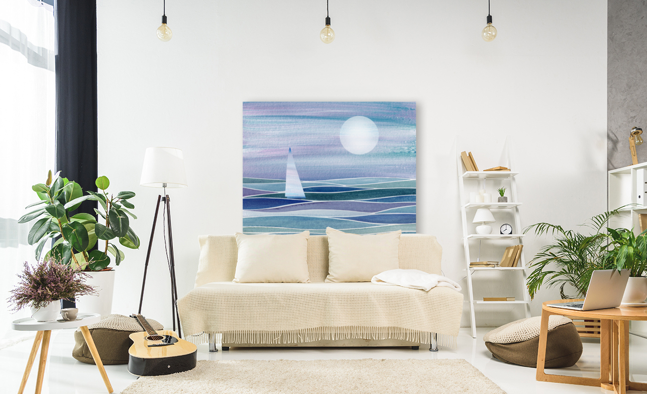 Sailboat At The Ocean Shore Seascape Painting Beach House Art Decor XV  Art