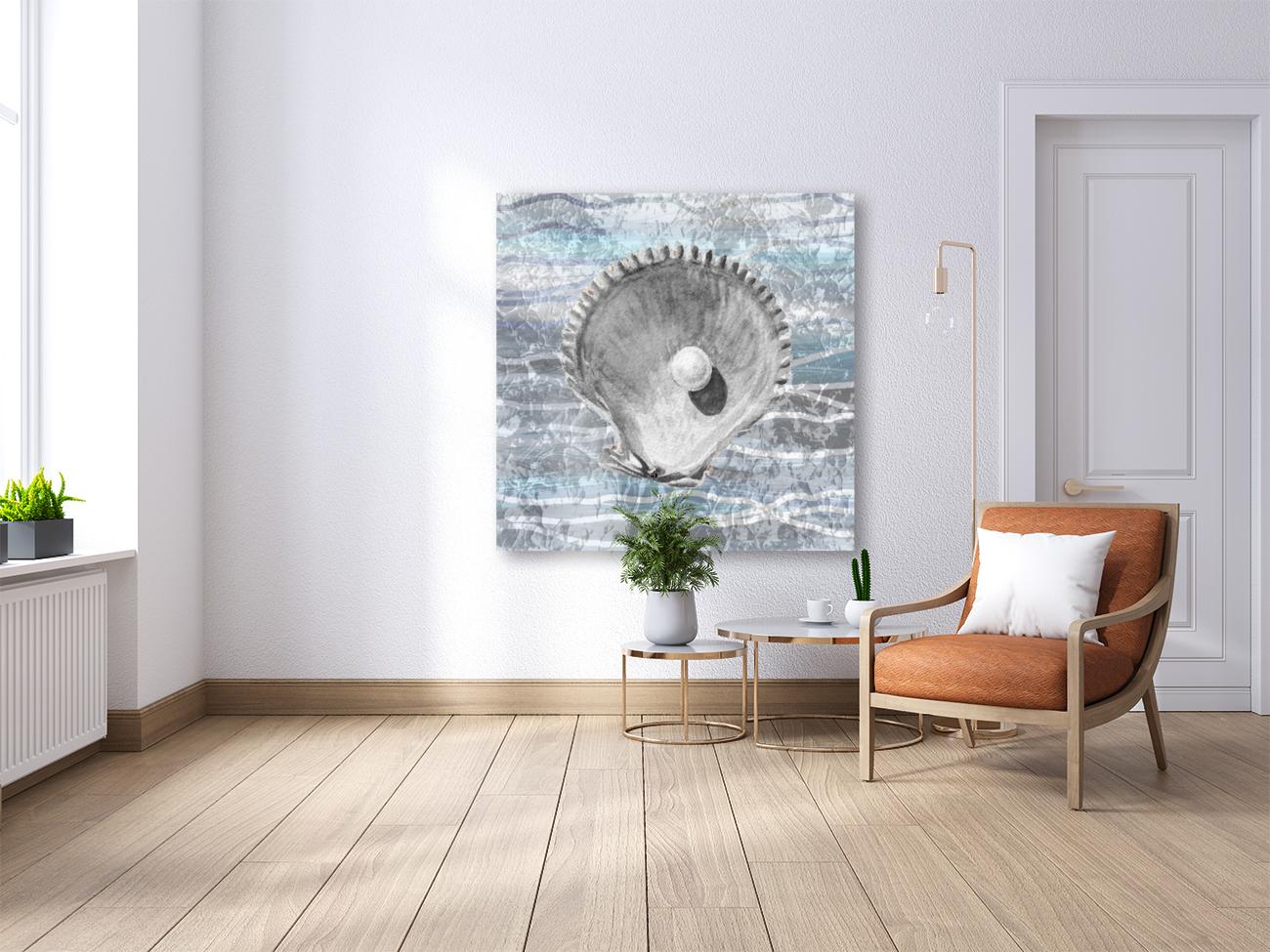 Silver Gray Seashell On Ocean Shore Waves And Rocks IV  Art
