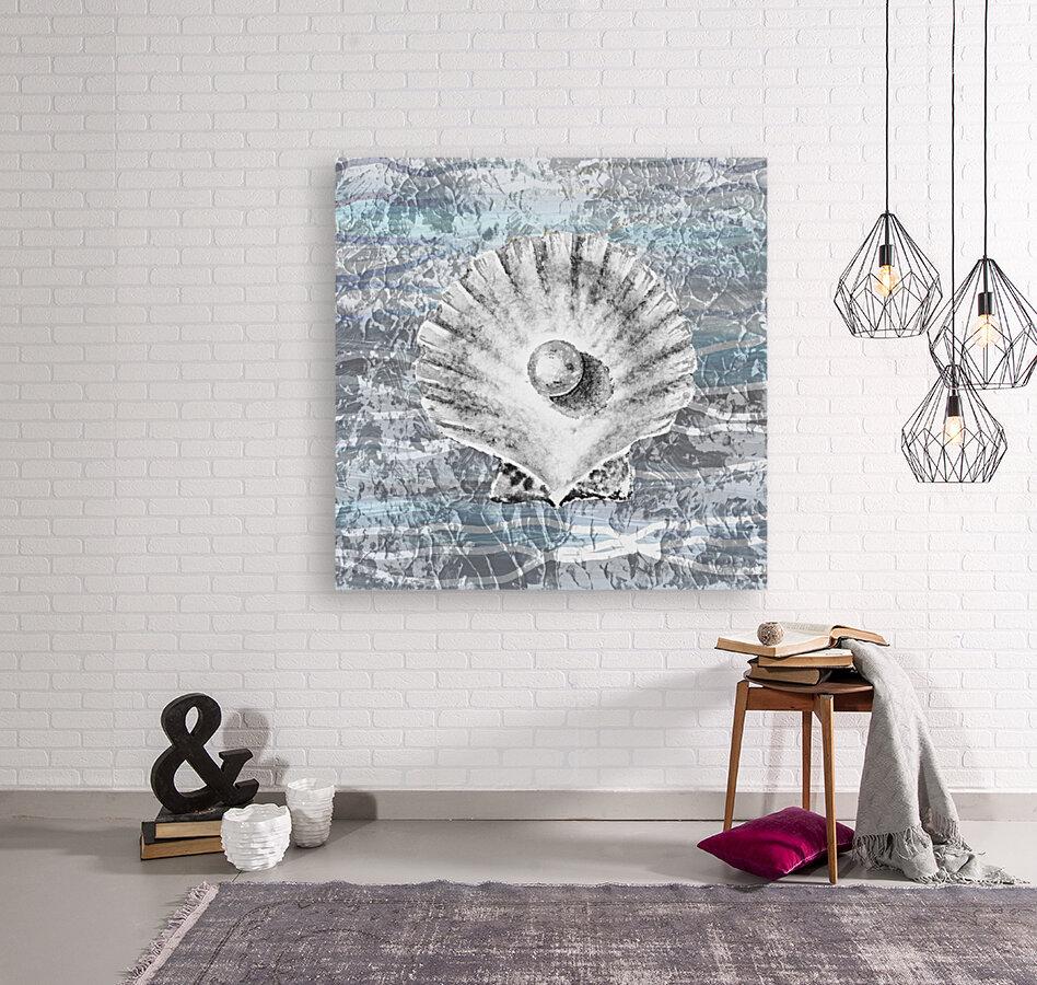 Silver Gray Seashell On Ocean Shore Waves And Rocks V  Art
