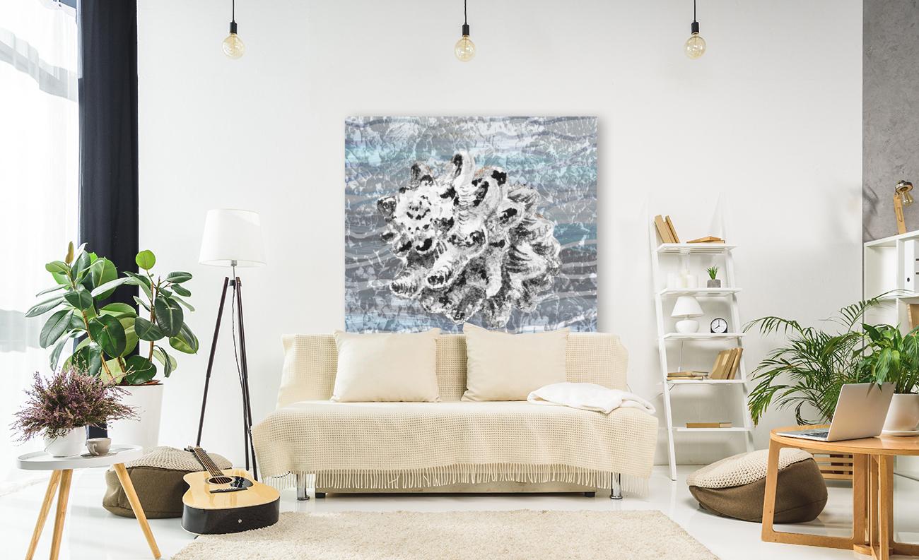 Silver Gray Seashell On Ocean Shore Waves And Rocks VI  Art