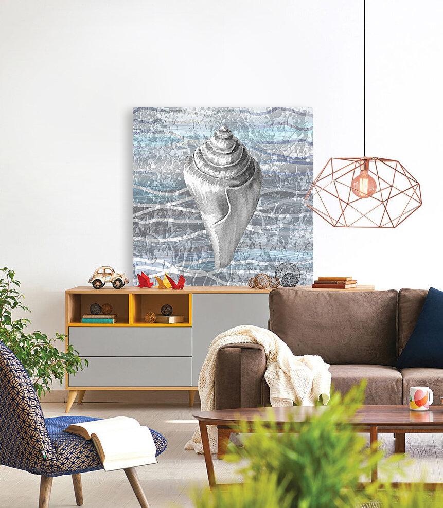 Silver Gray Seashell On Ocean Shore Waves And Rocks VII  Art