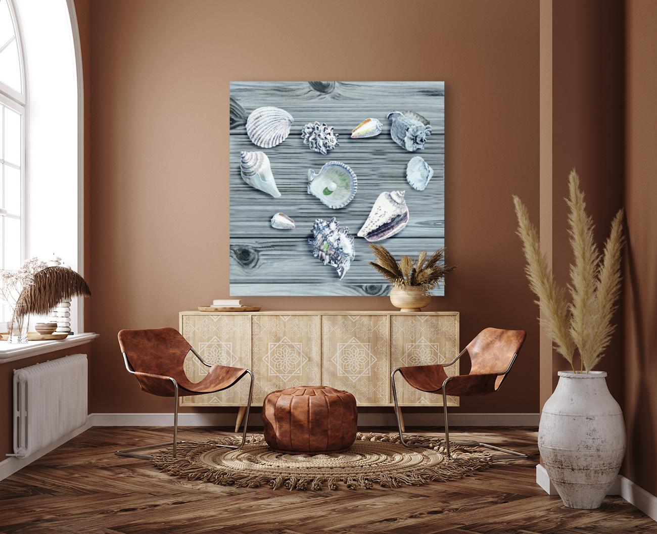 Silver Gray Seashells Heart On Ocean Shore Wooden Deck Beach House Art   Art
