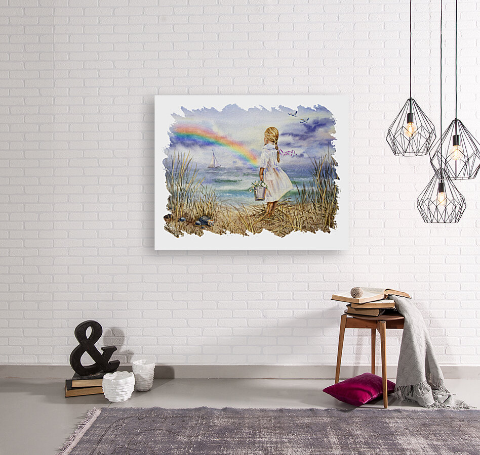 Girl Ocean Rainbow Boat And Birds Beach House Style Art  Art