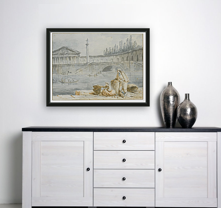 A man smoking a pipe and a woman with baskets looking out at rowing boats  Art
