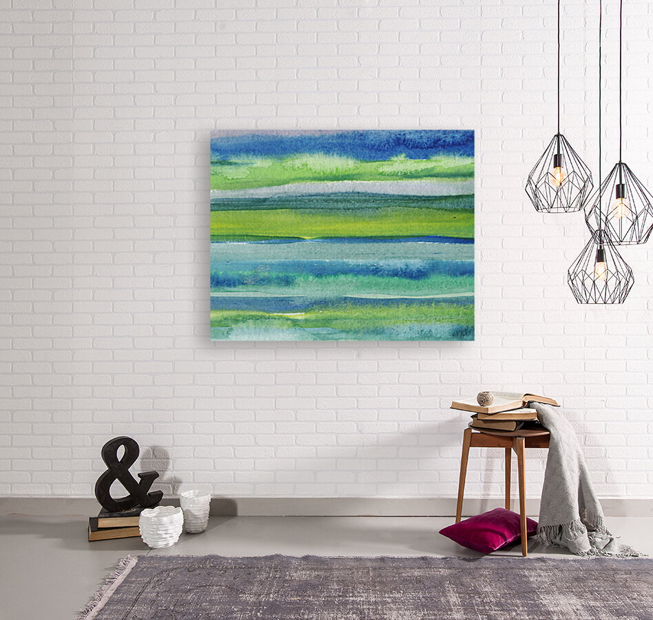 Ocean And Sea Beach Coastal Art Organic Watercolor Abstract Lines II  Art