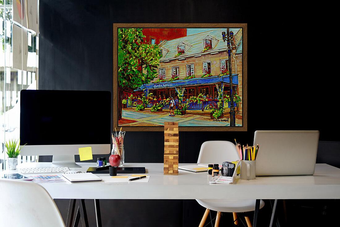 LE JARDIN NELSON OLD MONTREAL RESTAURANT SUMMER STREET SCENE  Art