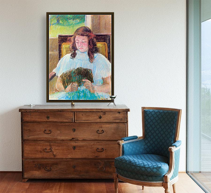 Young girl reading by Cassatt  Art