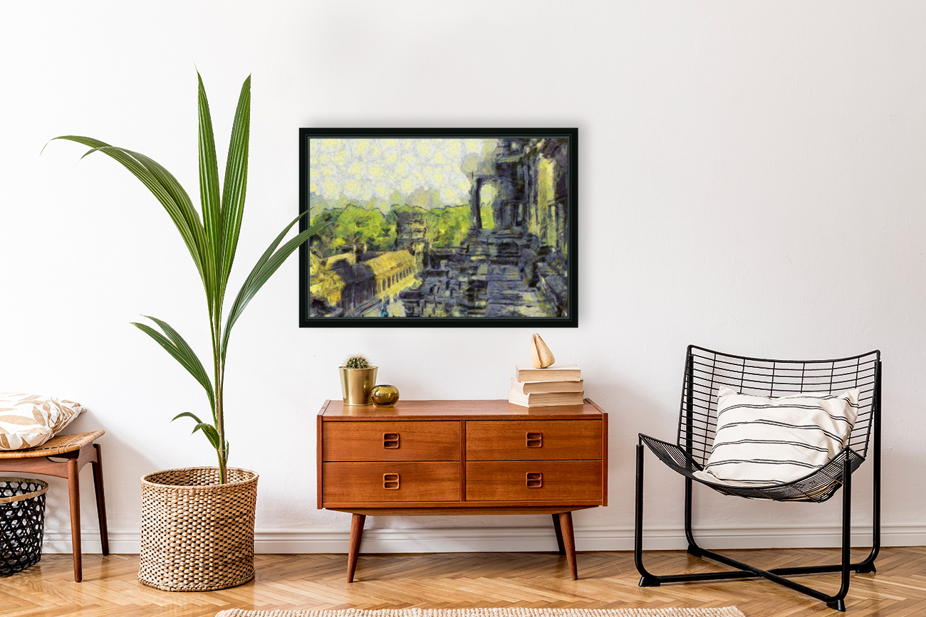 CAMBODIA Angkor Wat oil painting in Vincent van Gogh style. 130  Art