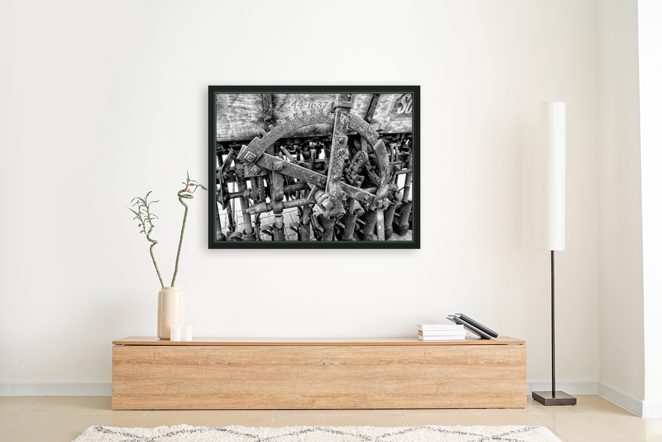 Antique Ploughing Machinery Black and White  Art