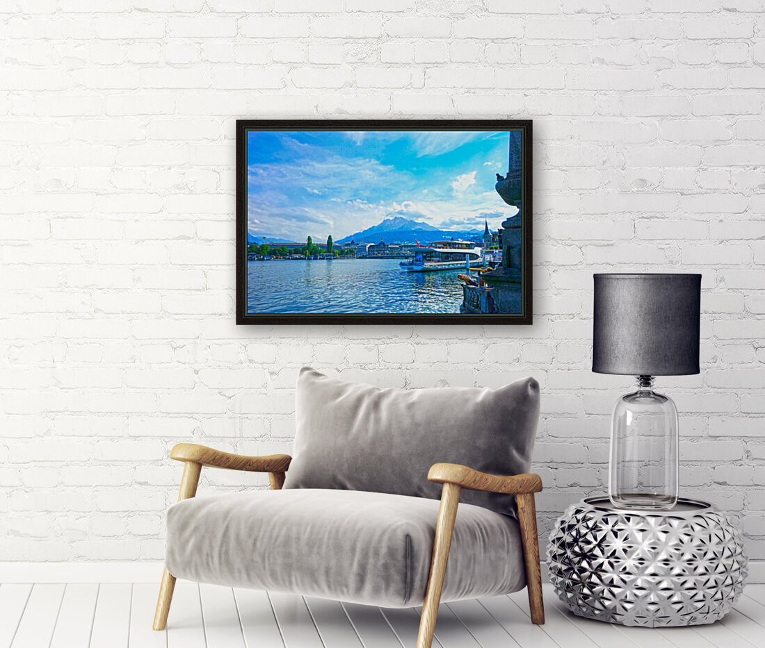 Mount Pilatus on the Shores of Lake Lucerne   Central Swiss Alps  Art